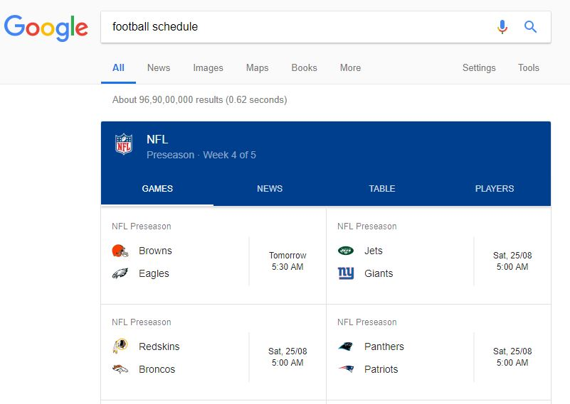 football schedule google trick